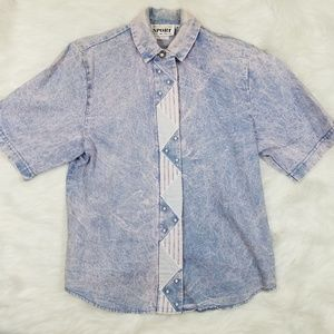 Vintage 90's Acid Wash Pink Tone Denim Blouse